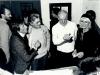in primo piano da sinistra l'attore Paolo Bondioli, Loriano Macchiavelli, Dario Fo e Franca Rame
