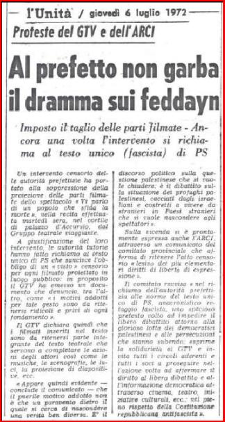 Articolo Unità 6 luglio 1972 - Voglio dirvi di un popolo che sfida la morte