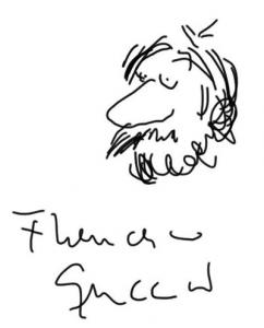 Schizzo autografo di Francesco Guccini su retro iPAD Vincenzo Mollica
